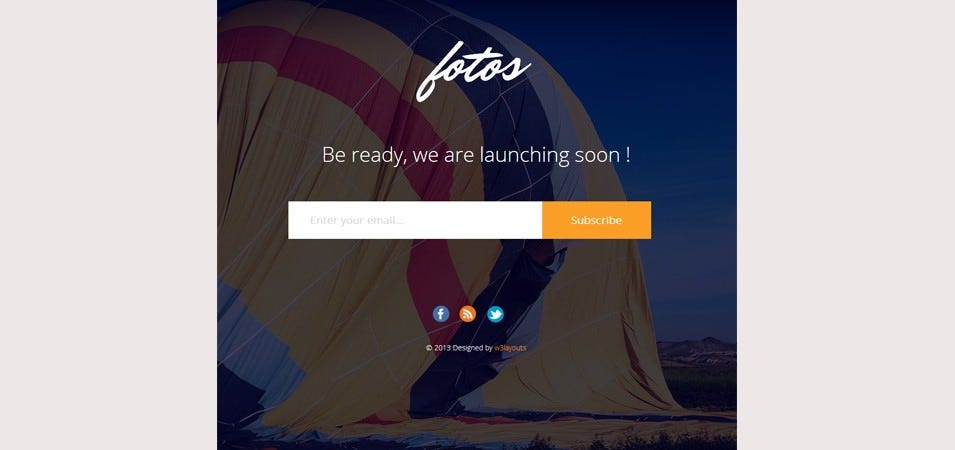 Fotos Website Launching Soon Mobile Website Template
