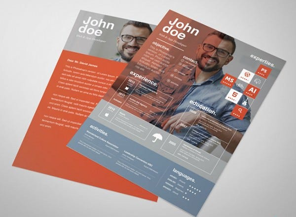 app devolper free creative resume template
