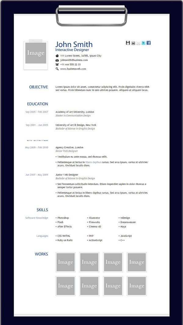 Elegant Free HTML Resume Template Regard To Resume Html Template