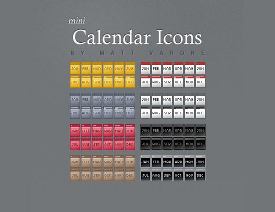 free mini calendar icons set