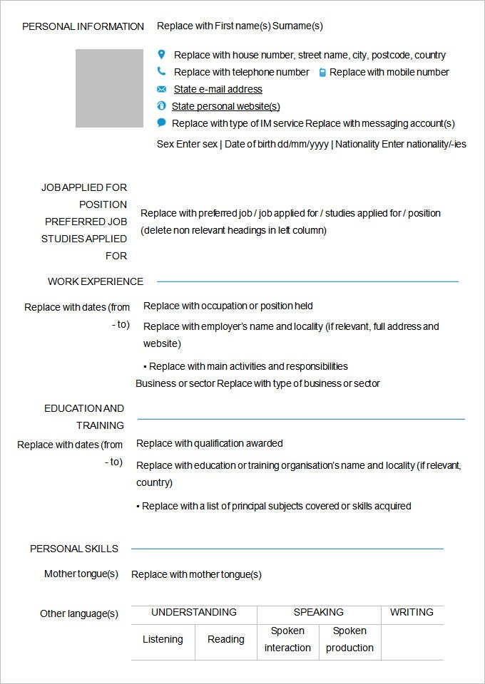 Blank Resume Template Sample Free Printable Resume Template Blank ...