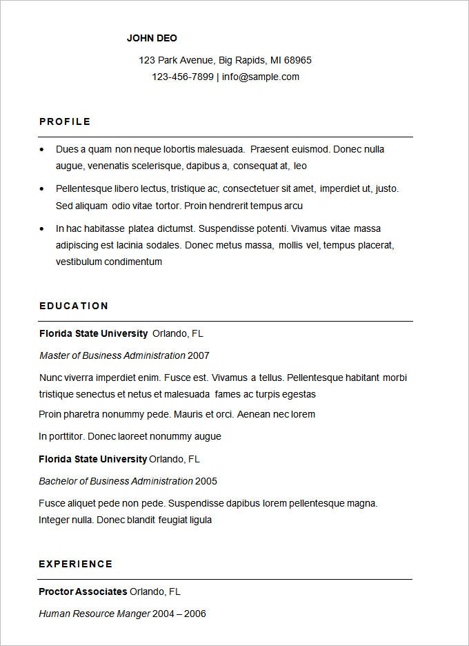 Easy Sample Resume Format