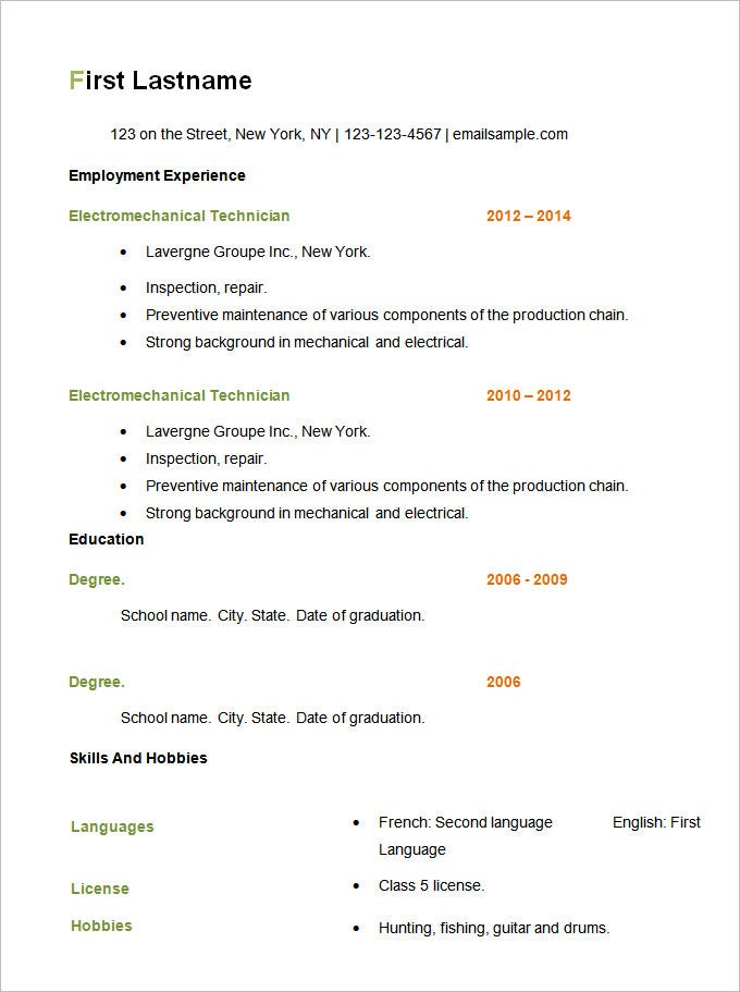 Samples Of Basic Resumes  CityEsporaCo
