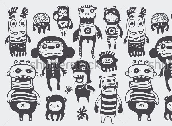 funny characters sketch set