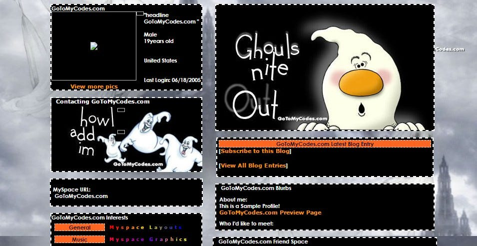 ghouls night out myspace layouts profile preview at gotomycodes