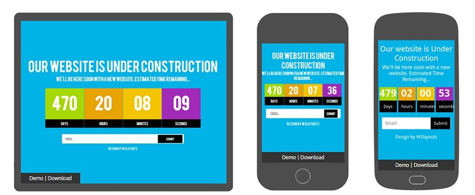 Grand Under Construction Mobile Website Template