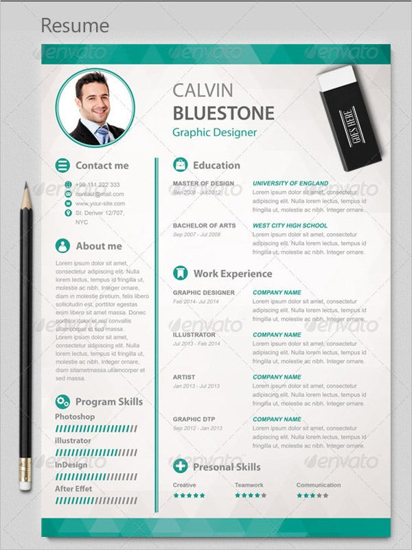 Graphic Designer Resume PSD Template  Graphic Artist Resume Sample