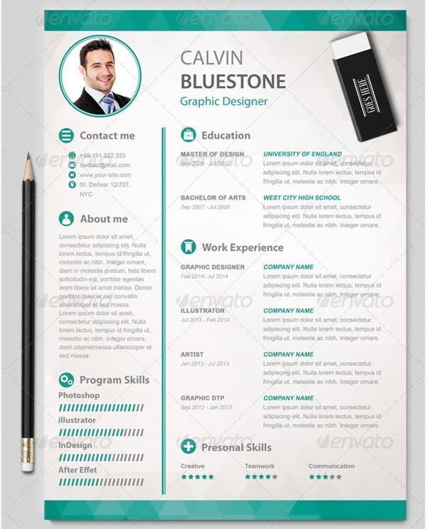 design resume templates creative resume template cv template cover - Graphic Resume Templates