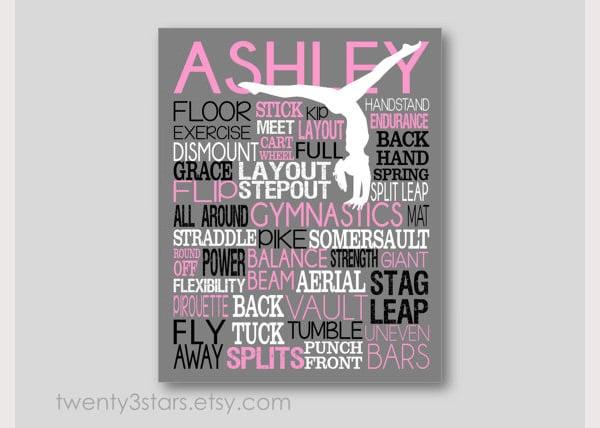 Gymnastics Typography Art Print