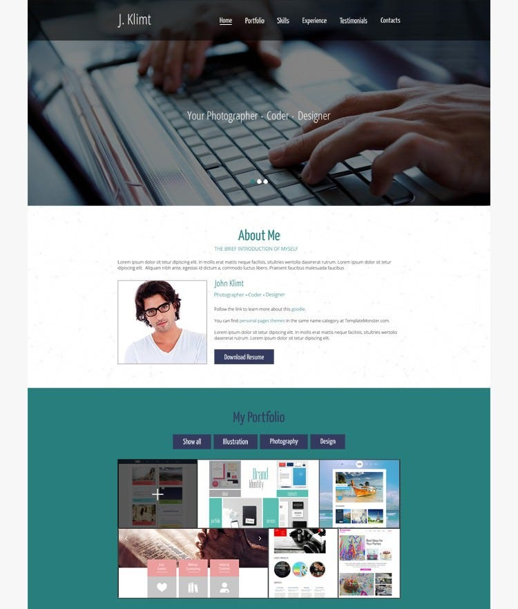 html5 one page cv template - Resume Web Template