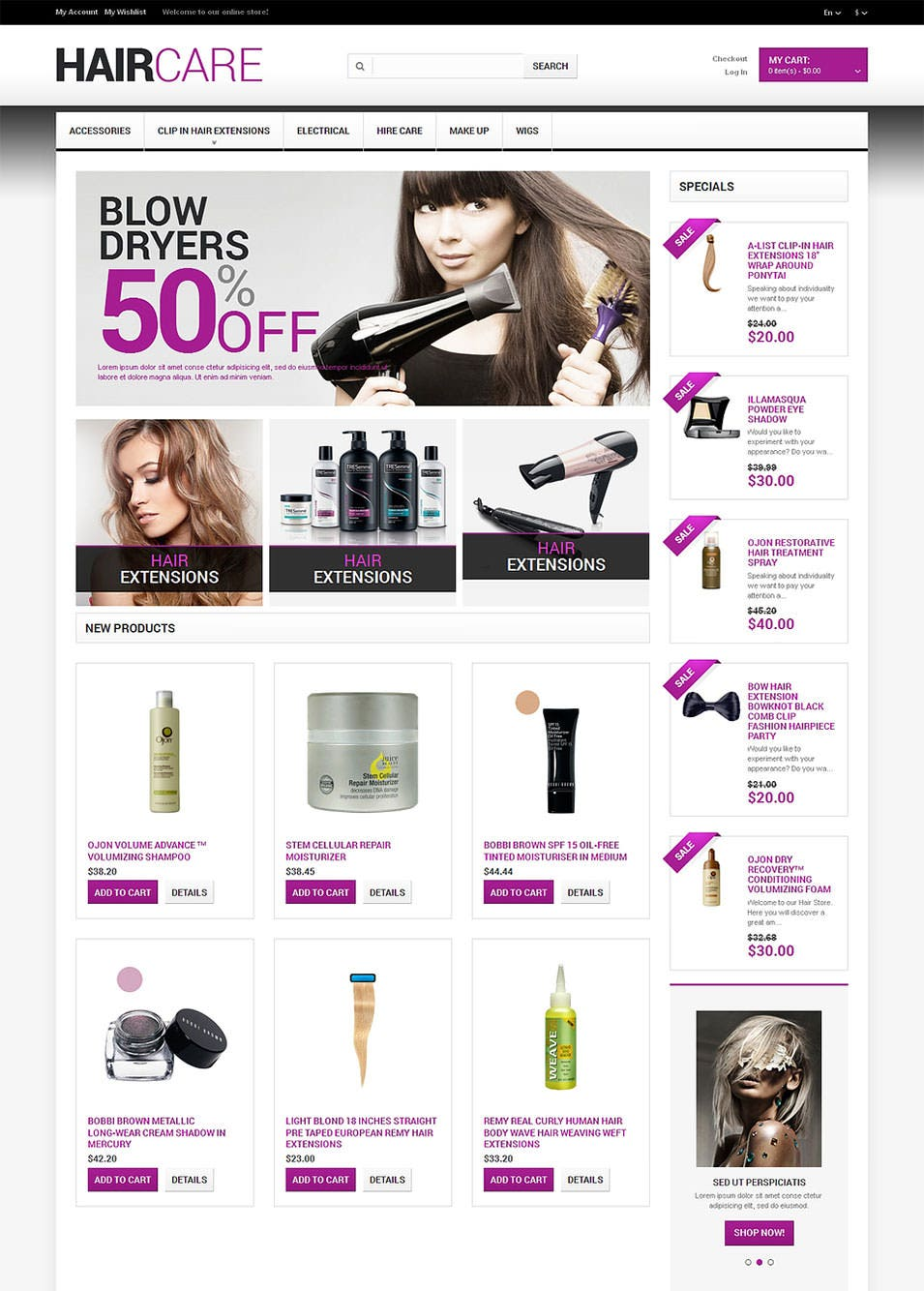 hairdressers stuff magento theme