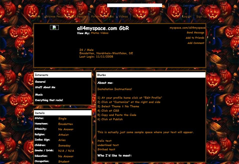 halloween pumpkin myspace layouts 2