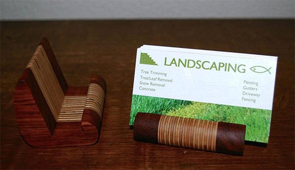 hand crafted babinga business card