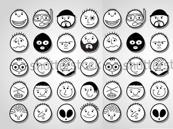 hand drawn funny cartoon faces