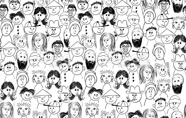 hand drawn crowd people sketches