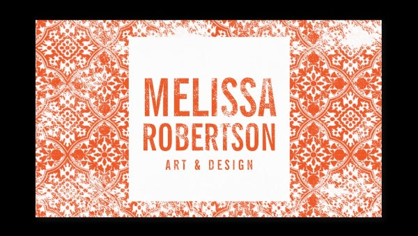 hand stamped orange pattern for artist crafters business card template