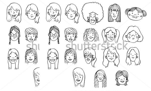 hand drawn female heads