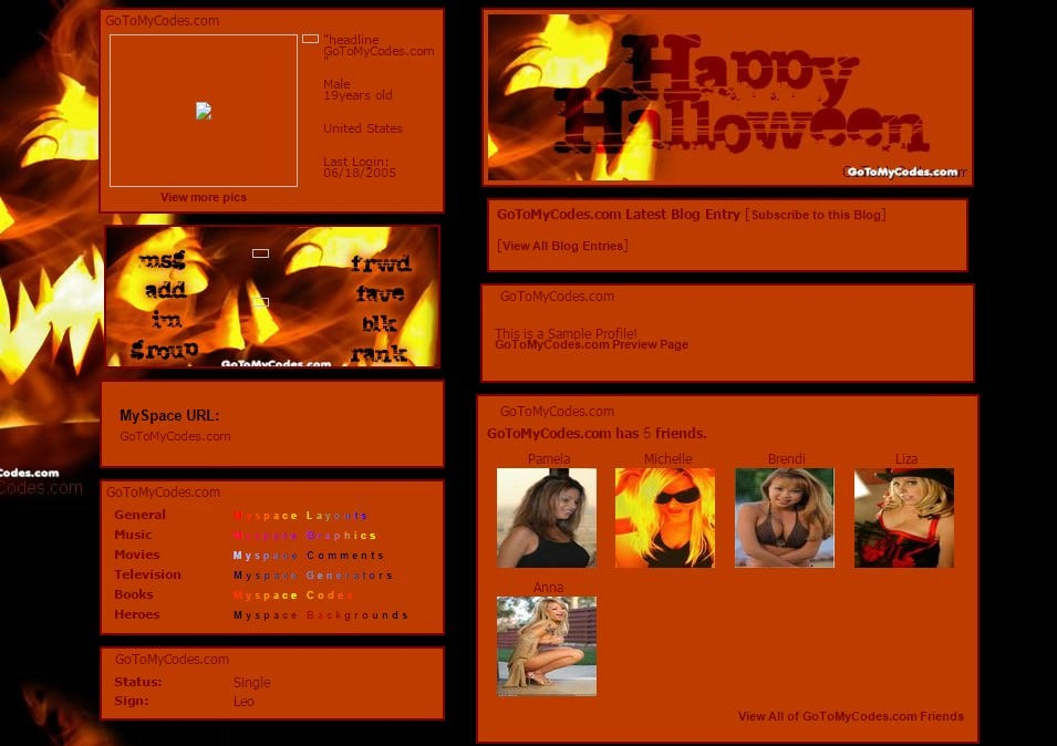 happy halloween myspace layouts profile preview at gotomycodes