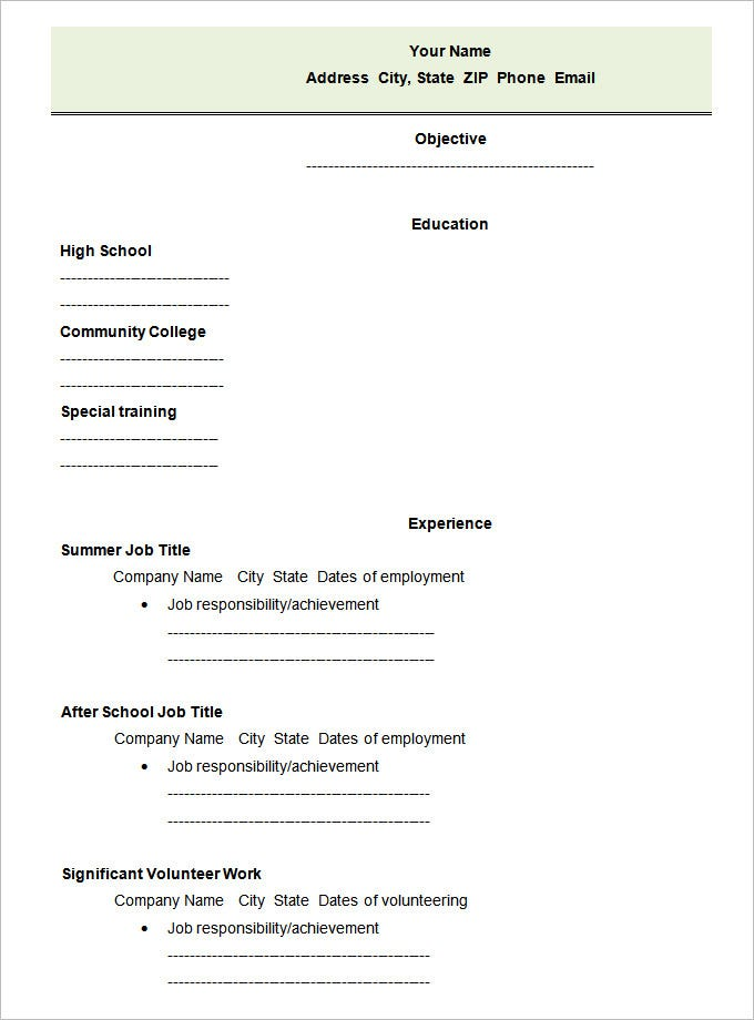 High School Blank Student Resume Template. Free Download