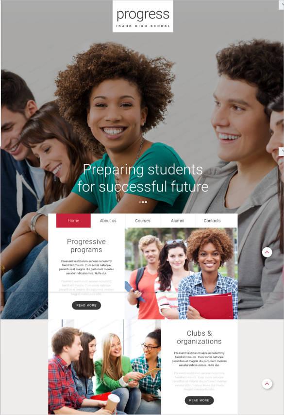 high school education website template