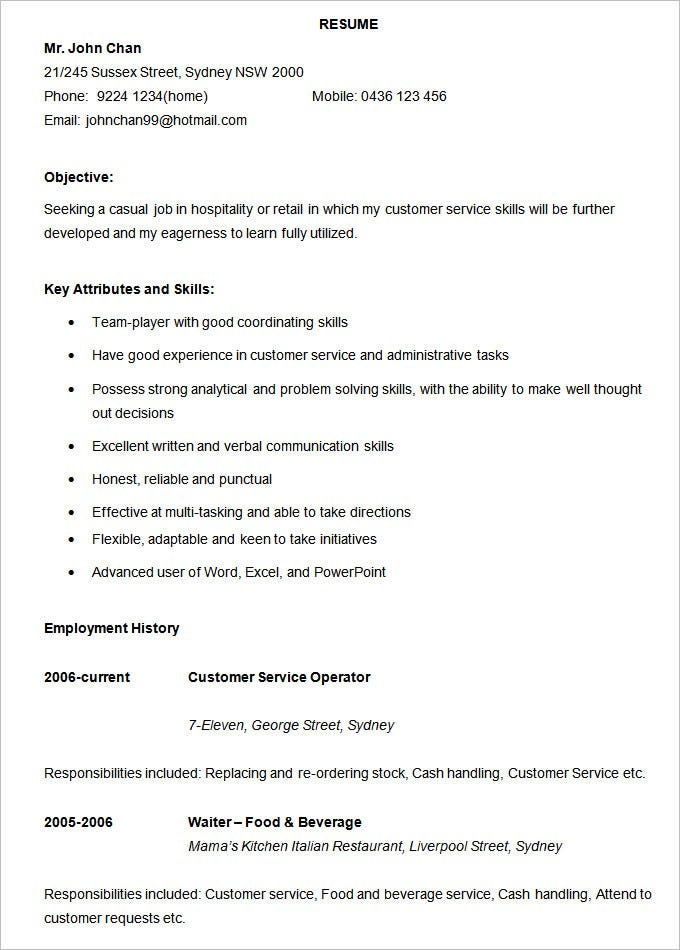 Hospitality Resume Template. Free Download  Free Basic Resume Templates Microsoft Word