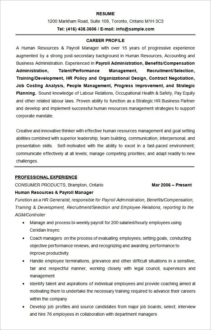 microsoft word resume template –    free samples  examples    human resources manager resume format template