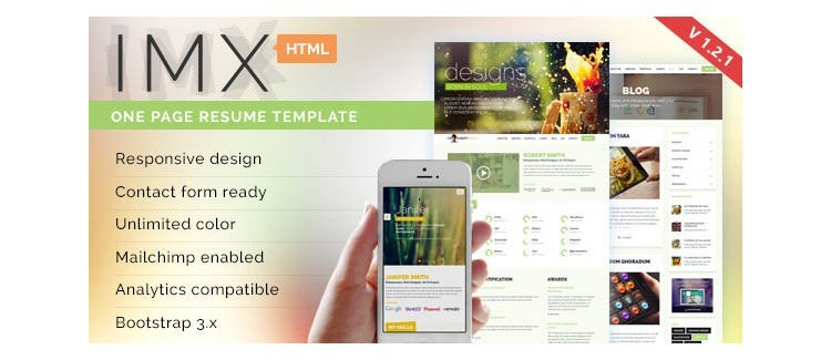 imx html5 resume template