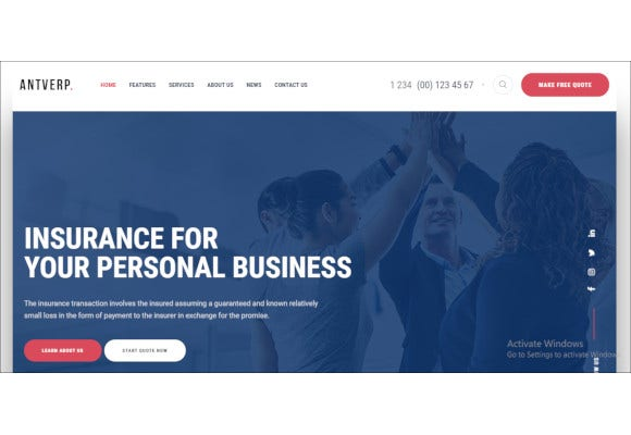 insurance financial advising wordpress theme