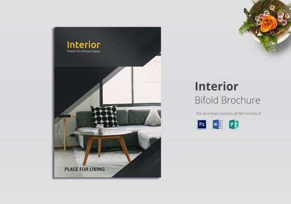 22 interior decoration brochure templates word psd for Indesign bi fold brochure template