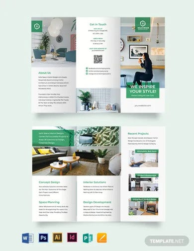 interior contractor tri fold brochure template