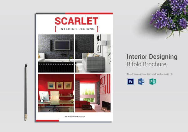 Interior Design Bi Fold Brochure Template