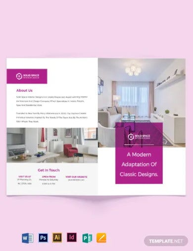 interior design consultancy bi fold brochure template