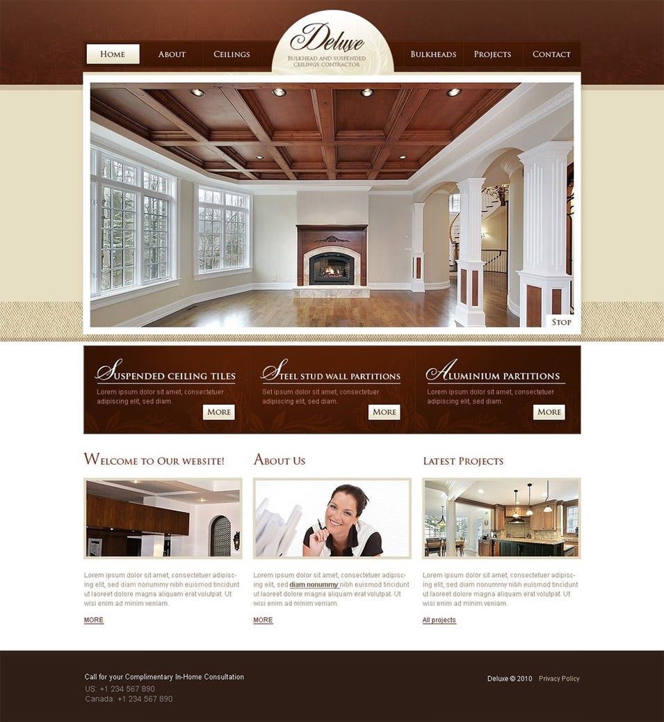 8 best swish interior website themes templates free for Home plan websites