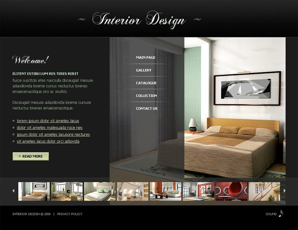 single page interior design website template best furniture websites design