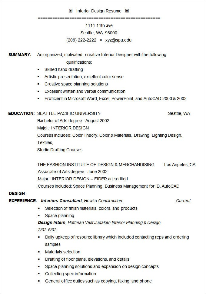 Interior Designer Resume Example Template  Interior Design Resume Examples