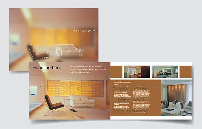 As Clear From The Name Interiors Company Design Brochure Template Usually Contains Images Of Interior Designs That Make A Look