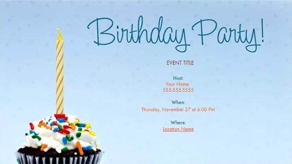 Birthday Email Invitation Template