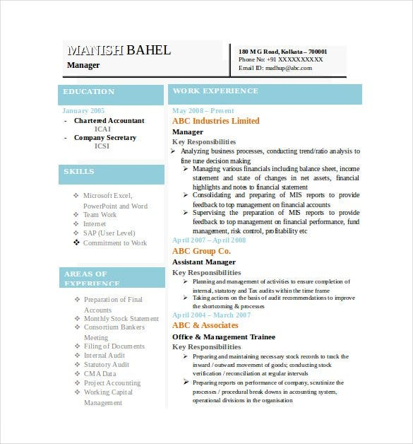 Charming Latest Chartered Accountant Resume Word Format Free Download  Resume Layout Word