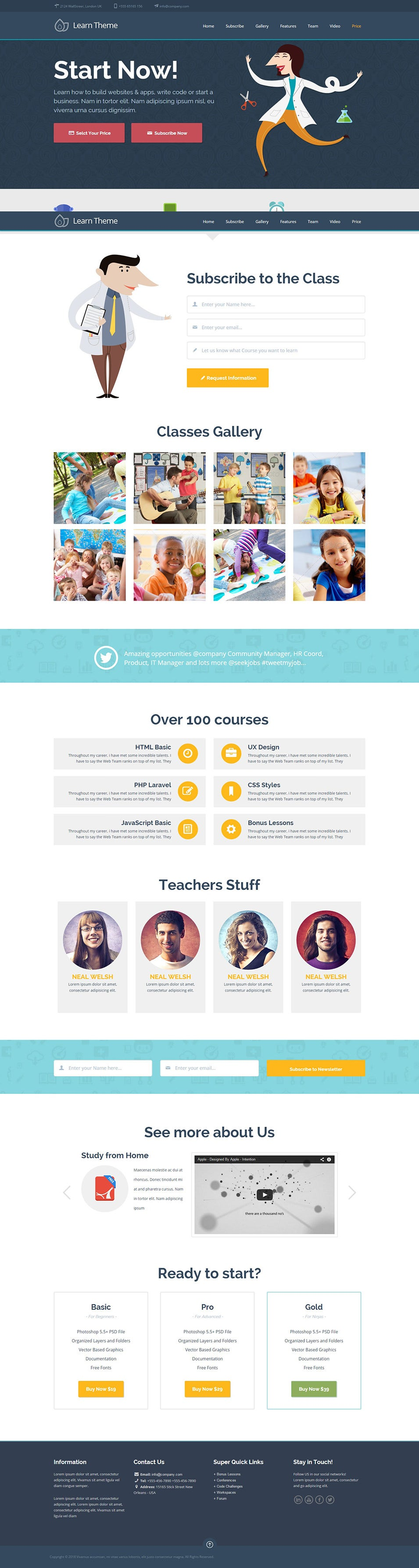 learn education classes landing page