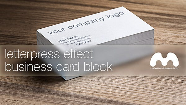 letterpress business card block