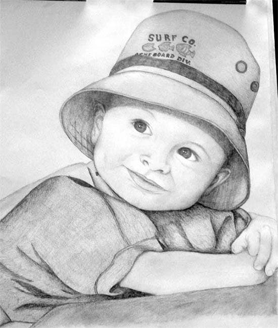 little boy pencil drawing
