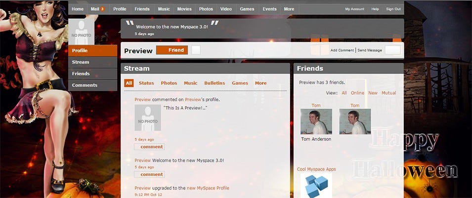 live preview of happy halloween myspace 2