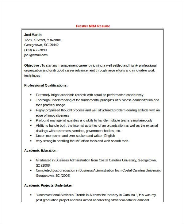MBA Finance Fresher Resume Word Format Free Download