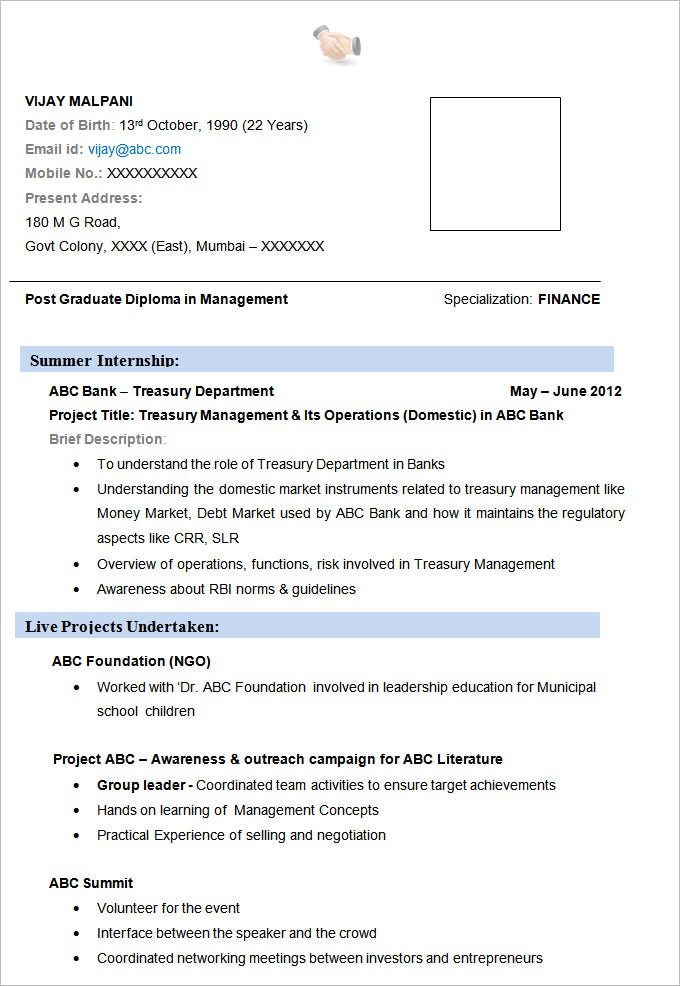 Resume Example 19 Free Samples Examples Format Download – Resume Format for Mba Finance