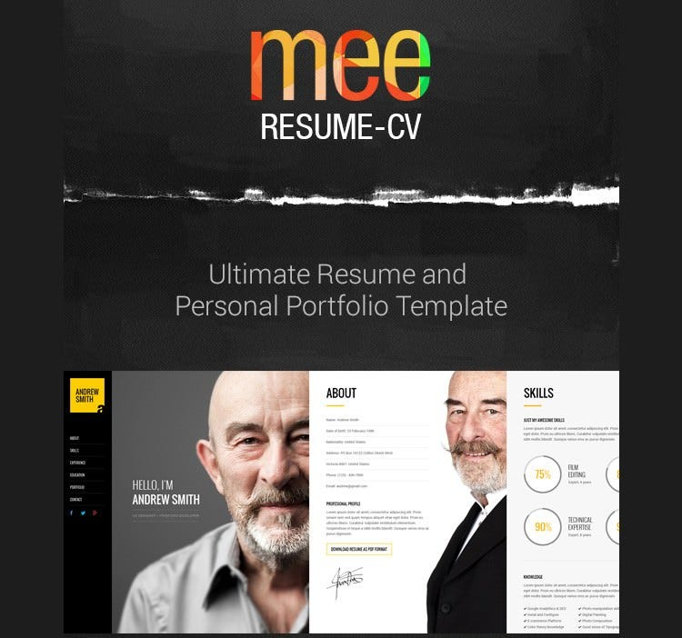 mee resume template html5