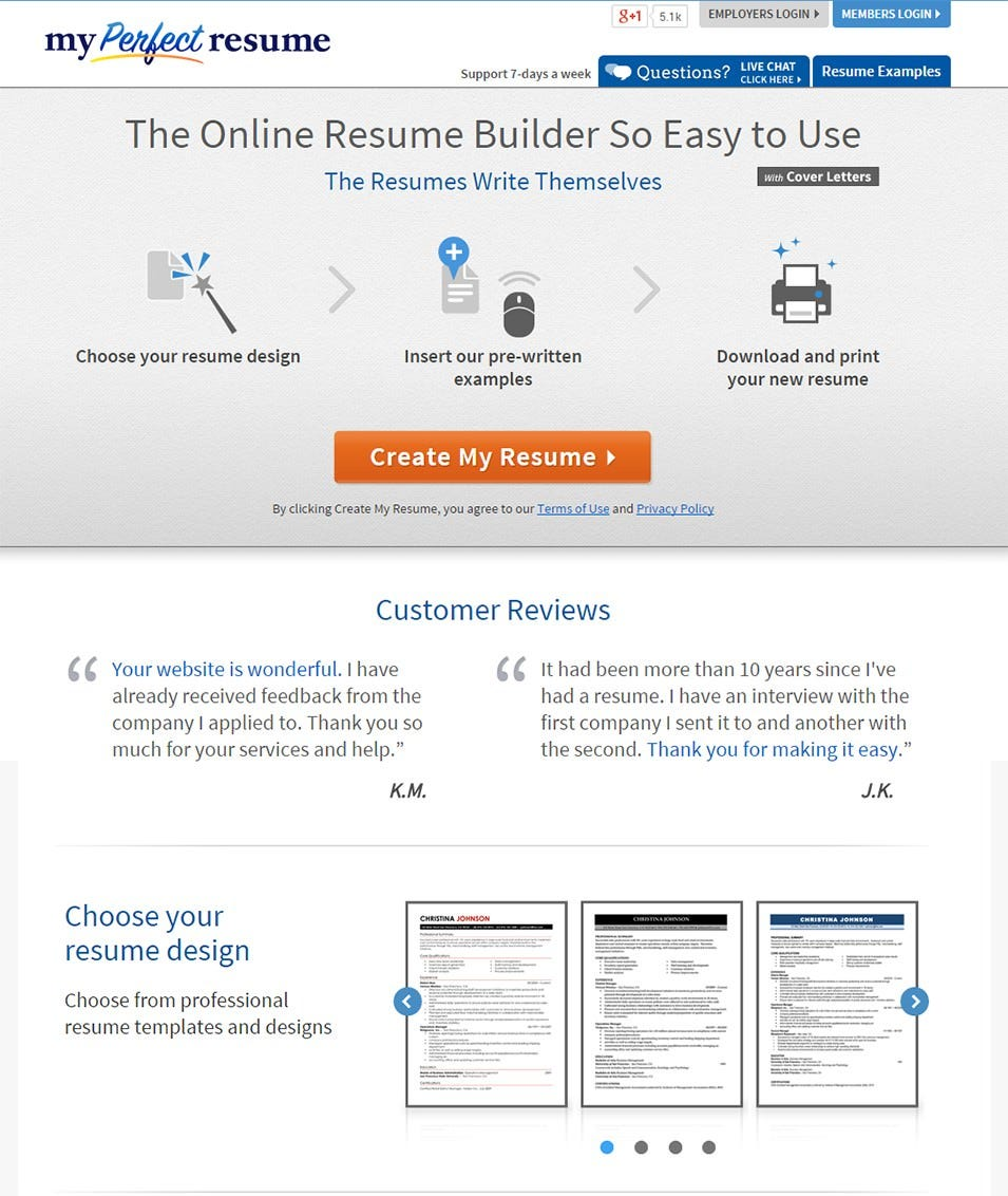 MY Perfect Resume Builder:  Best Free Resume Builders