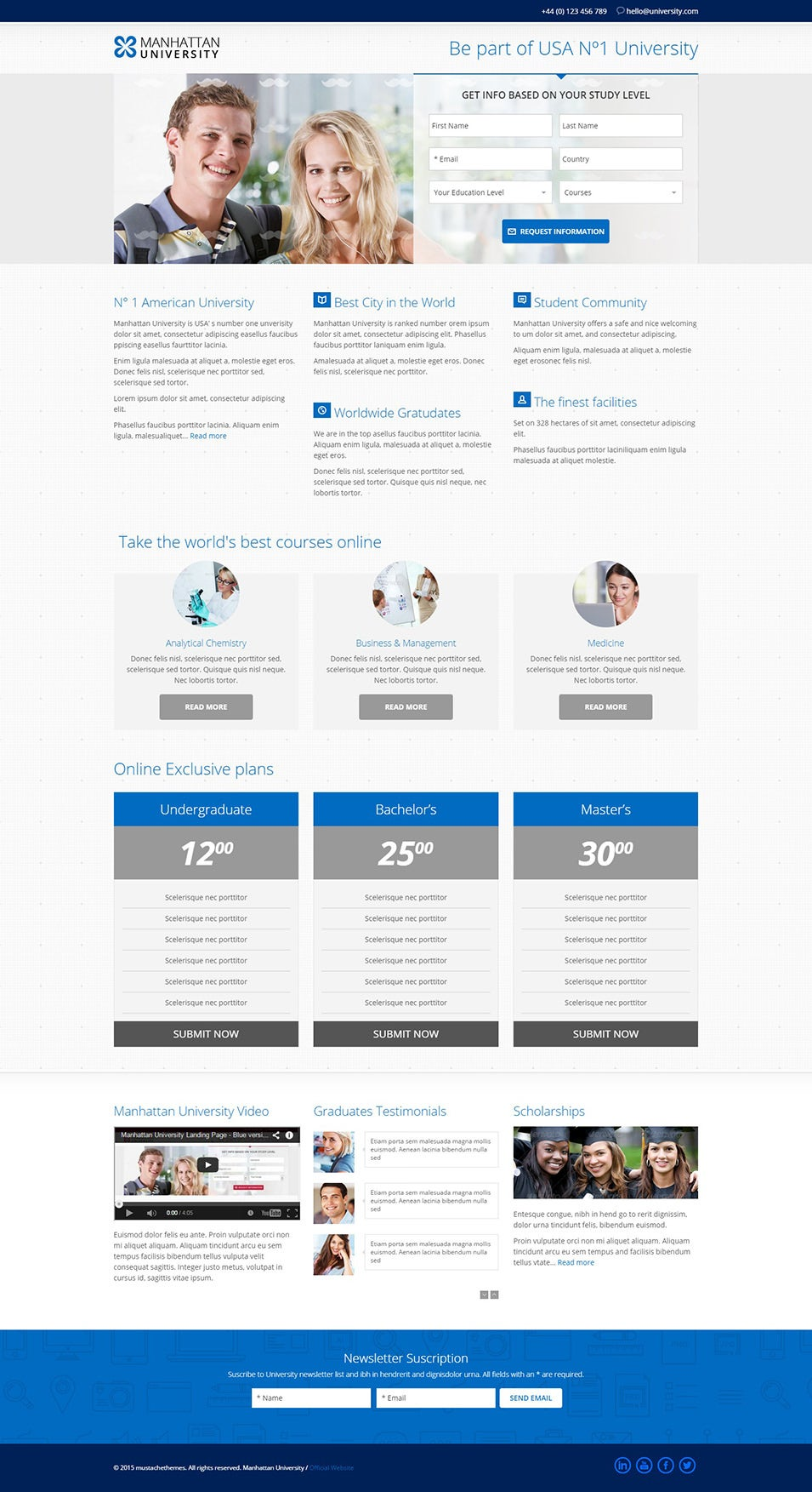 Top University Landing Page Templates | Free & Premium Templates