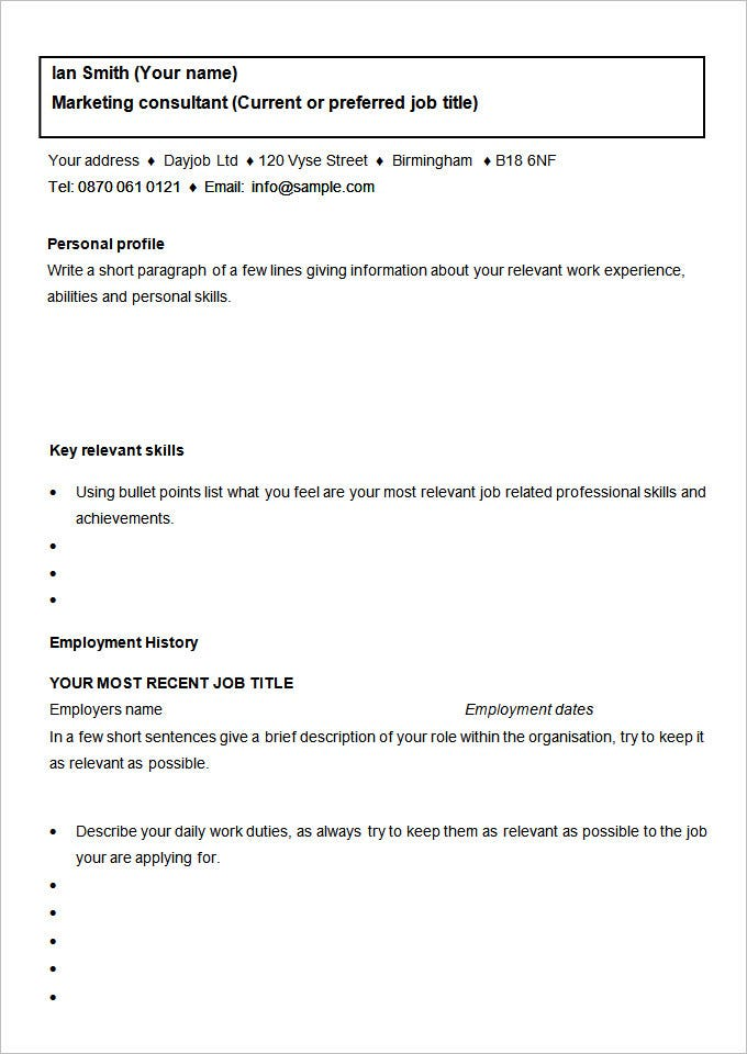 marketing consultant cv template free download