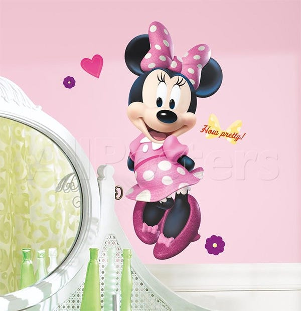 mickey friends minnie bow tique peel stick giant wall decal wall decal at allposters