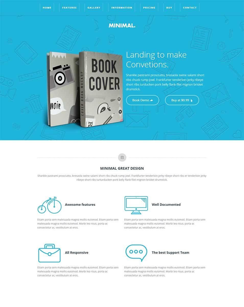 minimal multipurpose landing page responsive bootstrap template book version